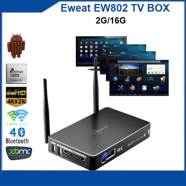 2015 Smart android TV BOX Eweat EW802 Amlogic S802 2.0GHz Quad Core mini pc Kitkat 2G 16G SATA media player(China (Mainland))