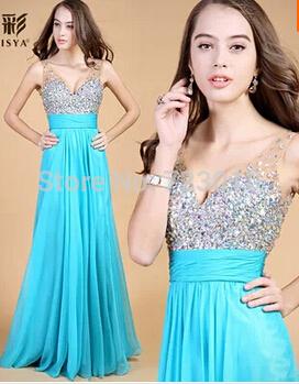 ... Long Evening Dresses Floor Length Cystal Sleeveless Formal Open Back