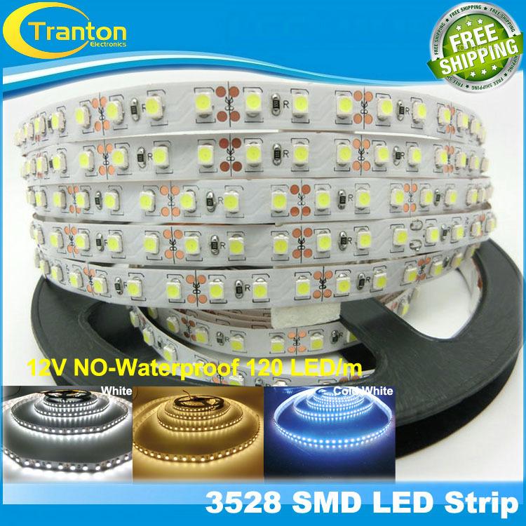 120 LED/m SMD3528 LED strip,5m 600 LED 12V flexible light NO-Waterproof ,White,Warm White,Cold White(China (Mainland))