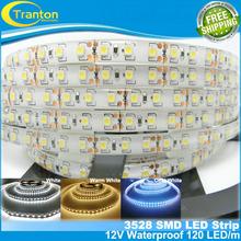 120 LED/m SMD3528 LED strip,5m 600 LED 12V flexible light IP65 Waterproof ,white/white warm/cold white(China (Mainland))
