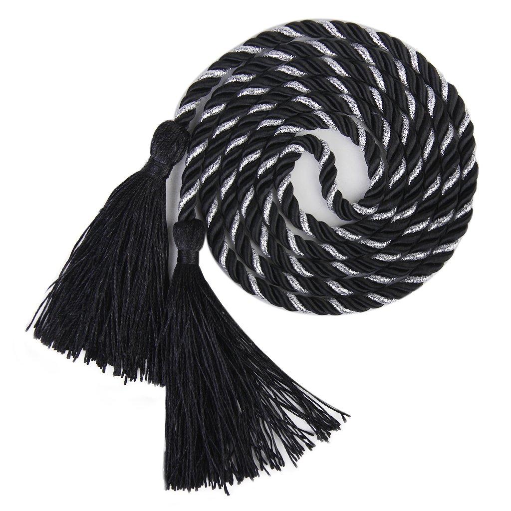 New Hotsale Promotion  1 Pair of Curtain Tiebacks Tie Backs Tassel Rope Living Room Bedroom Decoration 135CM (Black + Silver)