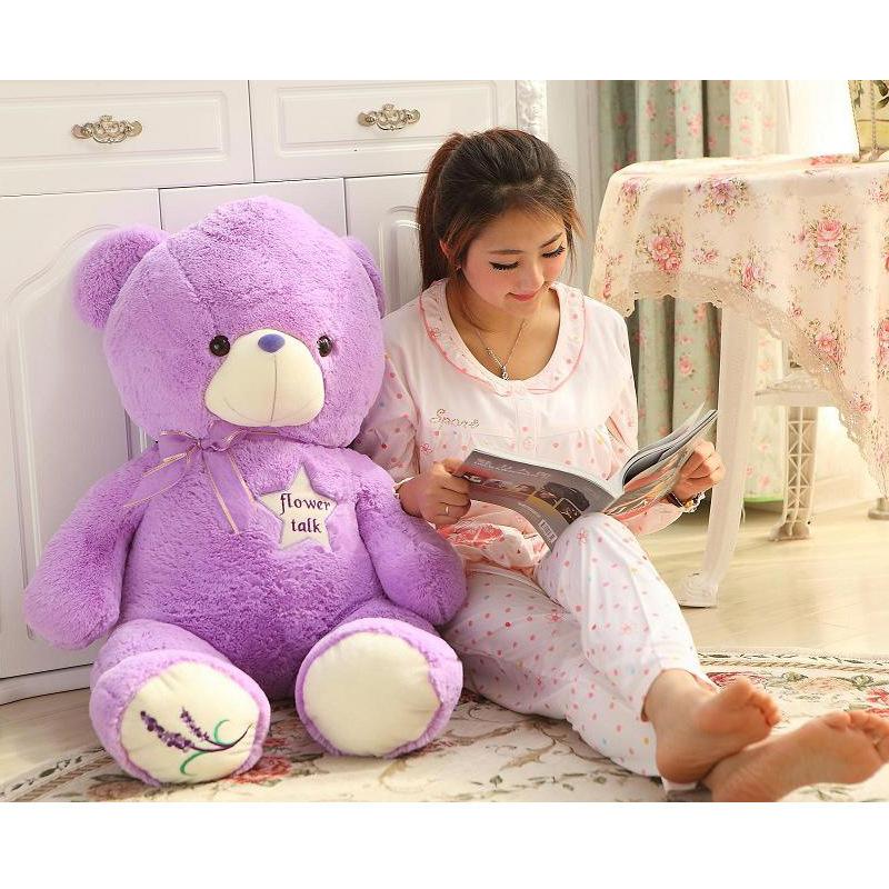 High quality 35cm-60cm purple small teddy bear pp cotton+lavender stuffed animal romantic toys for girl valentine birthday gift(China (Mainland))