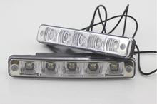 1 pair Waterproof 5 LED DRL LED Car Driving fog lamps parking Lights led Daytime Running