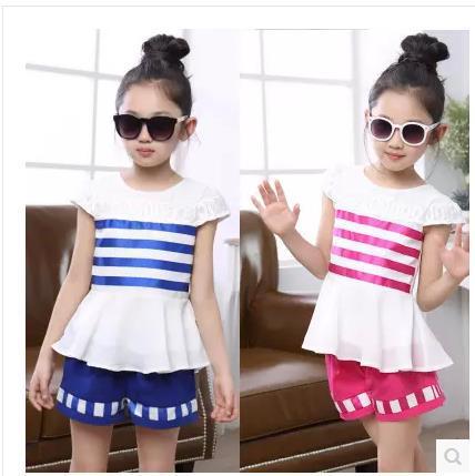 Girl fashion clothing set kids summer wear short set for girls cotton suit sets 2015 new children's clothing 2-11 age(China (Mainland))
