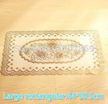 (2 pcs/lot) Fashion pvc waterproof bronzier heat pad placemat style western pad coasters disc pads bowl pad table mats  44*30.5(China (Mainland))