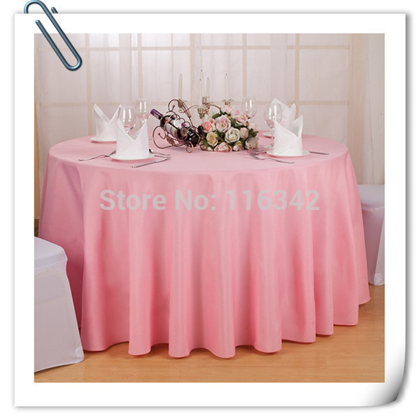 Free shipping! 10 pieces 90 '' round 100% top quality Pink polyester table cloth/table linens for wedding party decoration(China (Mainland))