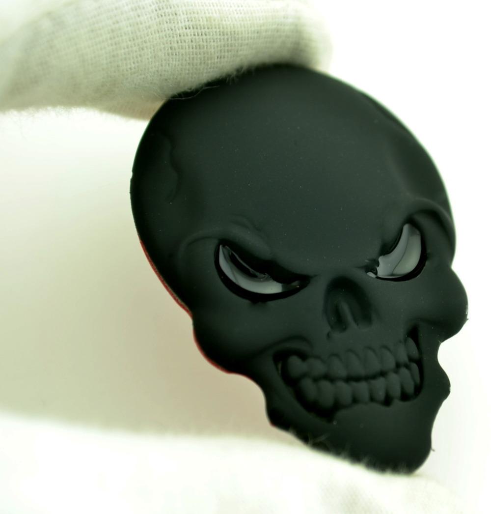 3D Skull Black Metal Car Emblem Sticker All Car Rear Boot Trunk Universal Car Sticker Badge 521bk(China (Mainland))