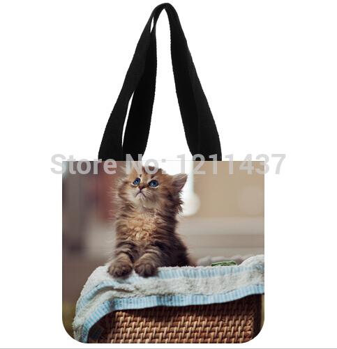 2015 new arrival lady shopping handbag custom Animal Pet Space Cat Patten18 Printed women's tote bag(China (Mainland))