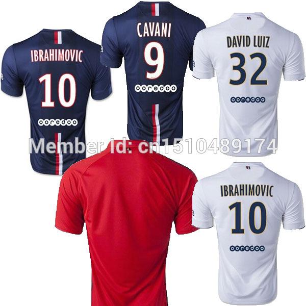 14/15 Jersey IBRAHIMOVIC 14 15 home away 3rd DAVID LUIZ PASTORE T SILVA Cavani BECKHAM soccer red white blue(China (Mainland))