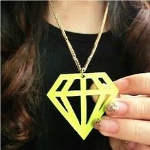 Women's wedding jewelry Fluorescent Pierced Stereoscopic Rhinestone Necklaces Sweater Necklaces Female stone triangle(China (Mainland))