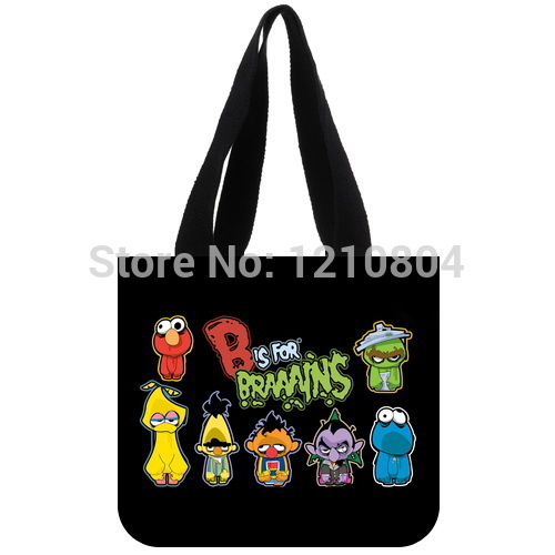 Hot Children's TV Show&Sesame Street Background Tote Bag-100% cotton canvas Eco-friendly Two Side Same Printed shopping bag(China (Mainland))