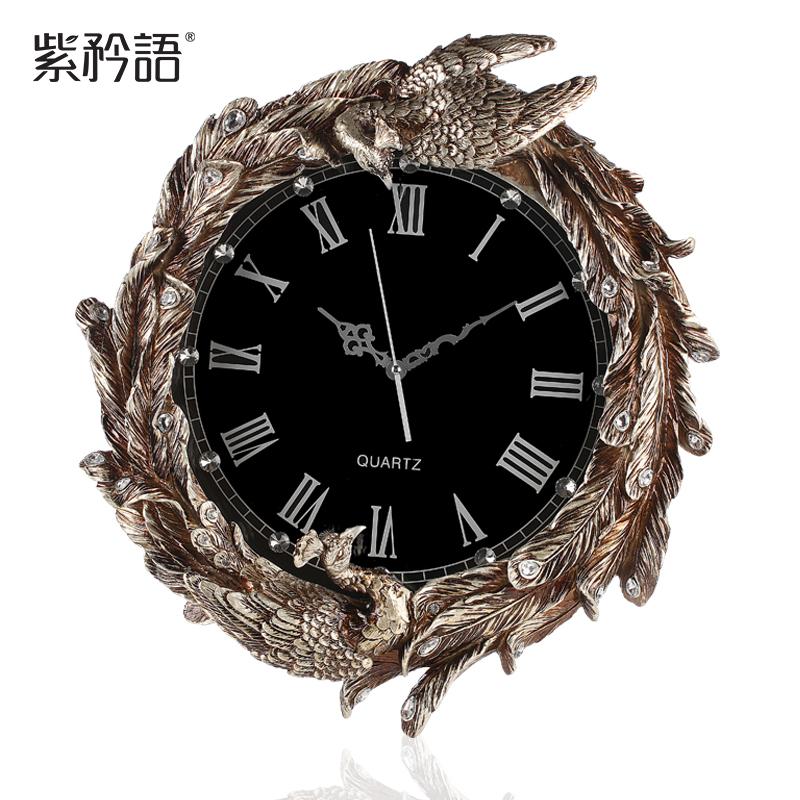 Purple boast wall clock mute language of European luxury living room wall clock resin peacock shape retro art clock(China (Mainland))