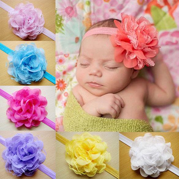 10pcs Kid Baby Girl Toddler Cute Chiffon Lace Flower Headband Hair Band Colorful High Quality Free Shipping(China (Mainland))