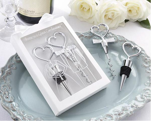 5 Sets(10pcs) Bride & Groom Bottle Stopper And Opener Two Hearts Wine Favor Set Wedding Favor Wedding Gifts(China (Mainland))