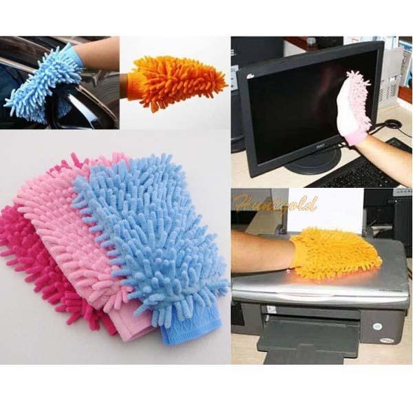 Microfiber Car Van Boat Home Floor TV Clean Cleaning Cleaner Glove Mitt Colors(China (Mainland))