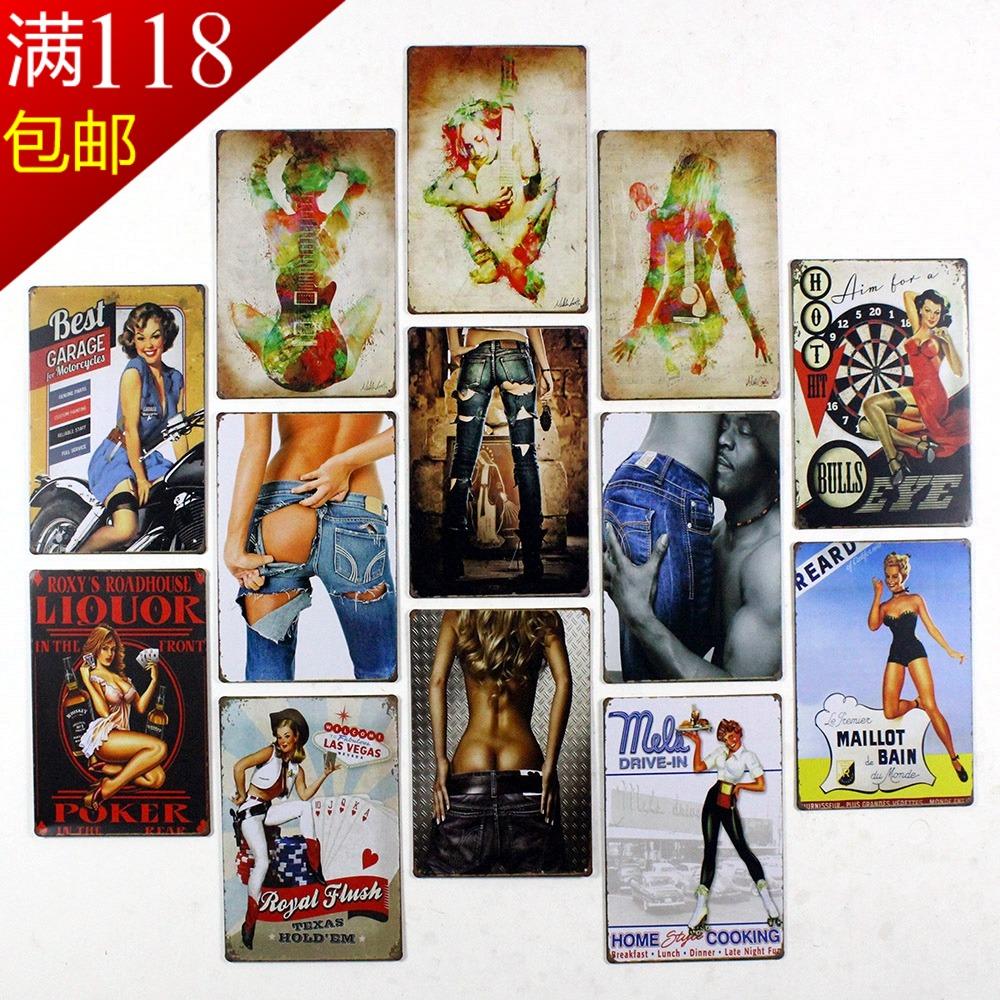 Continental Retro Sexy Girl Bar Coffee Restaurant Wall Mural Wall Decorative Painter In Painting Handicrafts Tin Iron Tree Love(China (Mainland))