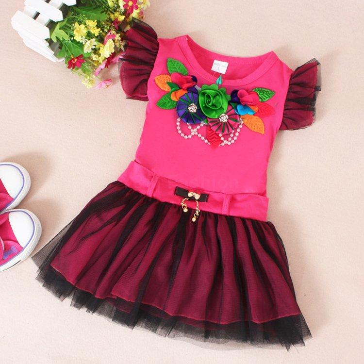 Brand New Baby Girl Dress Children Clothing 2015 Fashion Lotus Sleeve Girl Summer Dress Splicing Girl Casual Dresses Vestidos(China (Mainland))