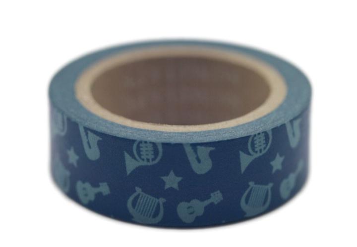 "11Yards Musical Instruments Teal 5/8"" (15mm) Washi Tape Paper Masking Tape W8292(China (Mainland))"