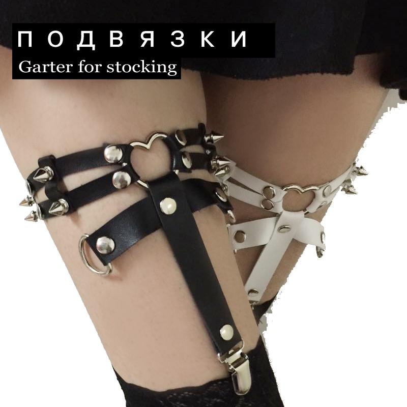 Fashion New Designed Punk Three Line Harajuku Heart Garter Belt 100% HANDCRAFT Leather Rivet Leg Loop Harness for women(China (Mainland))
