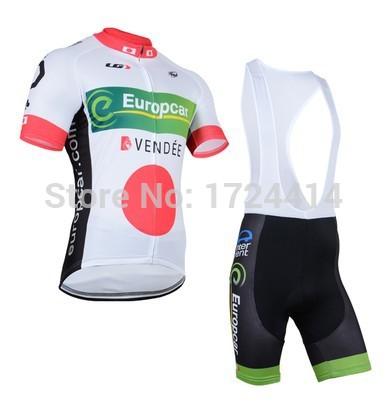 Free Shipping !!! New 2015 Cycling Jersey + Cycling Bib Shorts Sets Europcar Cycling/bicycle/bike Clothing+Bib Shorts(China (Mainland))