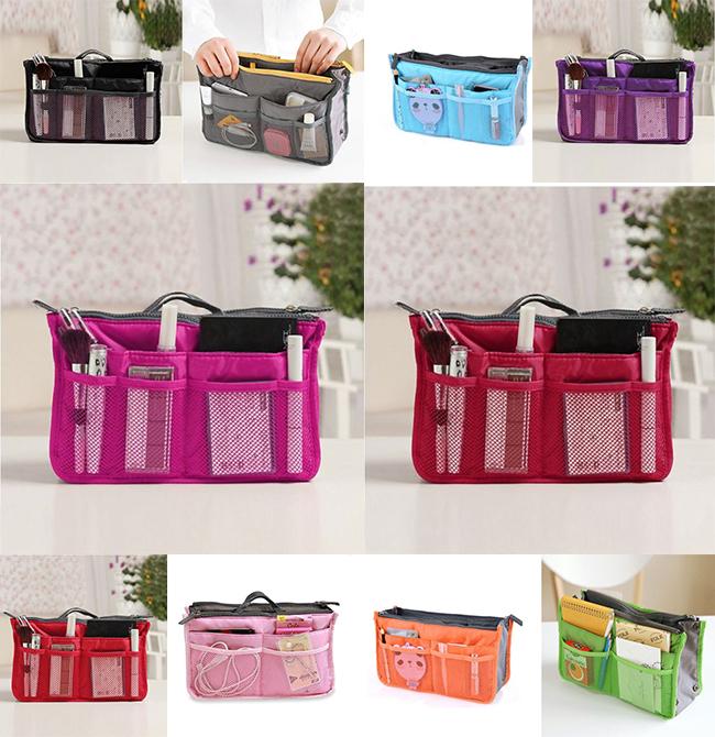 2015 HOT Women Travel Insert Organizer Handbag Purse Large liner Lady Makeup Cosmetic Bag Travelling Bag Multifunction N658(China (Mainland))