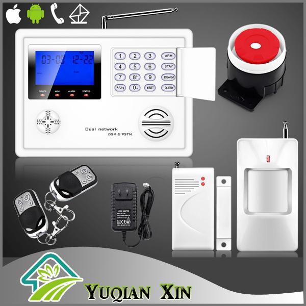 Wireless GSM PSTN alarm System Home Burglar Alarm System Kit + PIR Door Sensor Remote Control(China (Mainland))