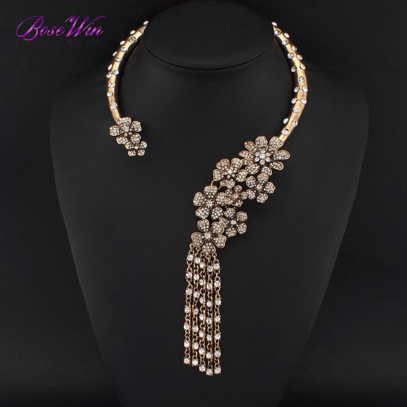 2015 Vintage Jewelry Alloy Inlay Gems Torques Choker Luxury Flower Long Rhinestones Tassels Collares Women Statement