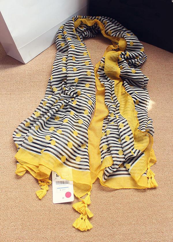2015 New brand za yellow stripe dot print 100% cotton scarf with tassel for women designer silk scarf high quality summer shawl(China (Mainland))
