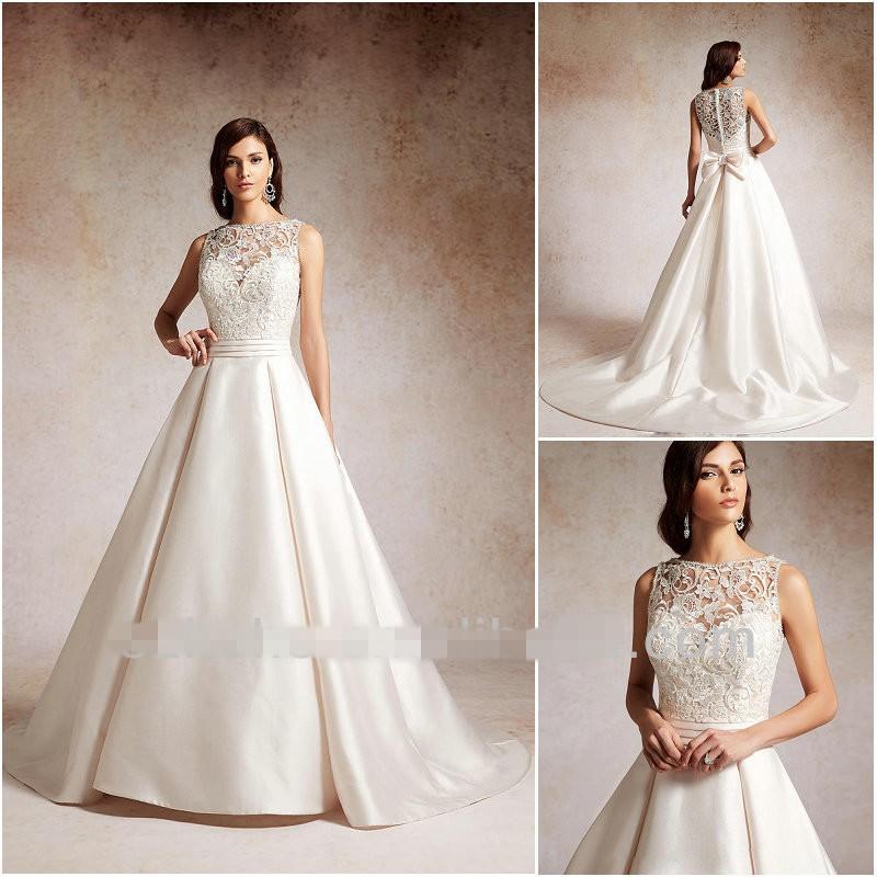Free Shipping Elegant A Line Satin Wedding Gown Court train 2015 Lace Alibaba wedding dress(China (Mainland))