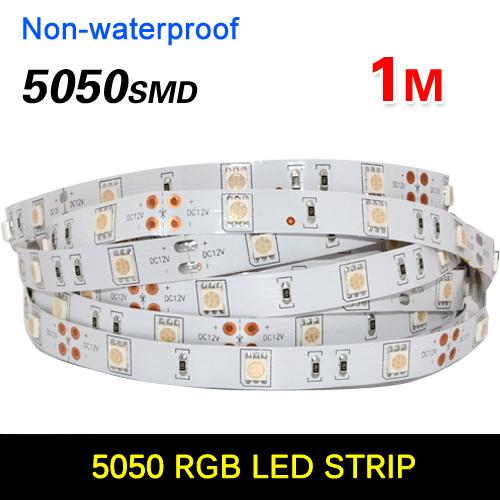 1M 60 LED 5050 SMD RGB 60 leds/ Meter Flexible LED Strip Light 12V Home Decoration LED Ribbon Tape more bright than 3528(China (Mainland))