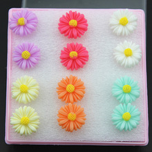 Wholesale 6 pairs Girl Women 9.5mm/13mm Lovely Neon Colors Daisy Sun Flower Stud Earrings Gift ME149(China (Mainland))