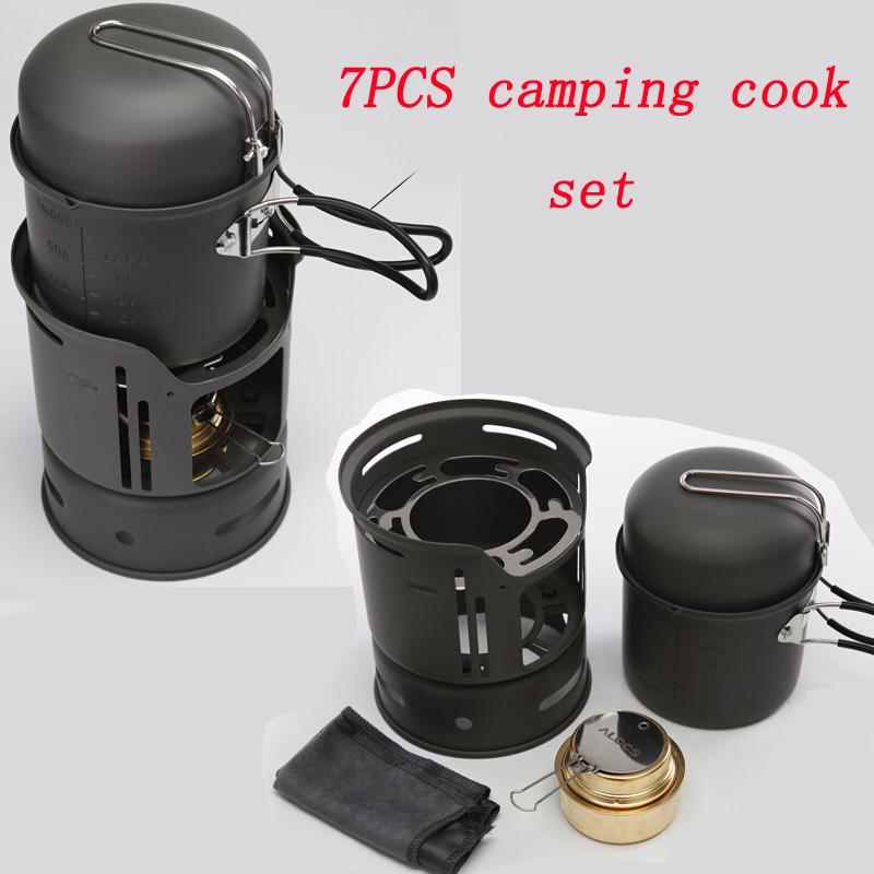 7PCS camping cook set Portable Outdoor Stoves Picnic Gas Burner Camping Mini picnic pot dormitory Alcohol Hot pot(China (Mainland))