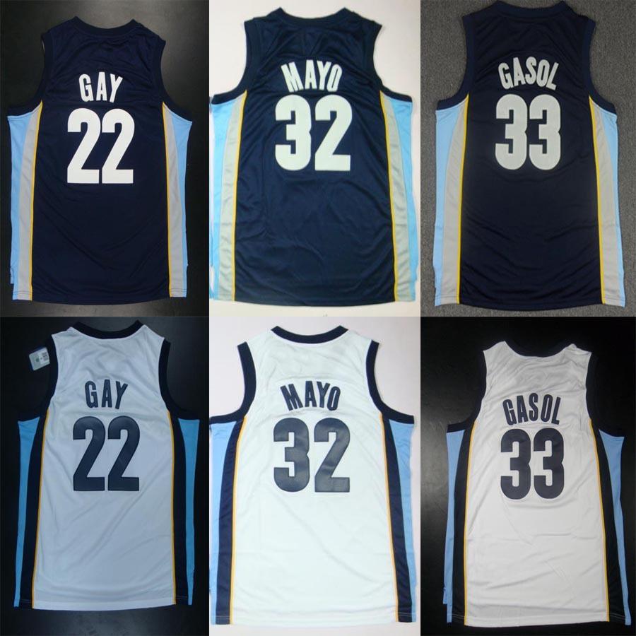 Memphis 22 Tams Rudy Gay 32 O.J. Mayo 33 Marc Gasol basketball jersey shorts sports men Dark blue white new material Grizzly(China (Mainland))