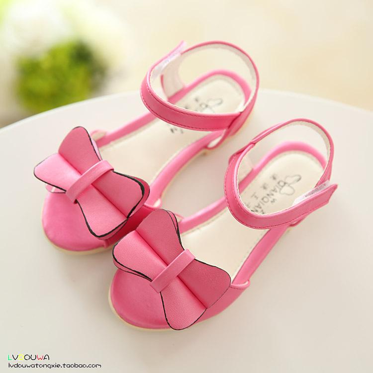Сша 9 ~ 3 лето девочки обувь, Кожа открытая толе дети девочки сандалии, Розовый персик синий галстук-бабочка сандалии для девочки