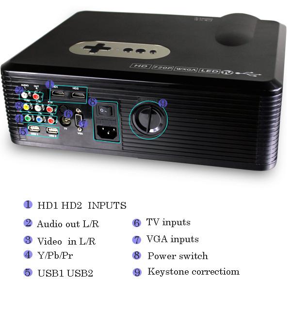 Home Cinema Theater FREE SHIPPING Multimedia LED LCD Projector HD 720P support 1080P PC AV TV VGA USB HDMI(China (Mainland))
