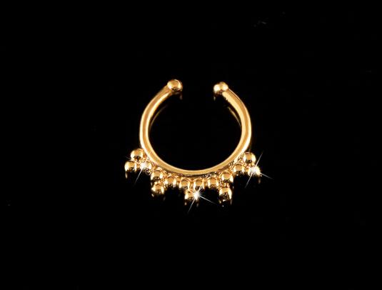 6 pcs 2015 new Non Piercing Fake Nose Ring Stud Hoop 18k Gold Fake Piercing Septum Nose Rings 16g Indian Nose Ring Fake Piercing(China (Mainland))