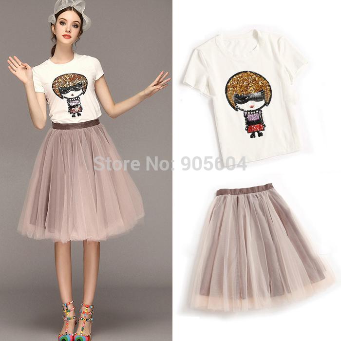 2015 Women Sequin Doll Print O-Neck Short Sleeve T Shirts+Mesh Pleated Tutu Midi Skirts Elegant Summer Ladies Casual 2 Piece Set(China (Mainland))