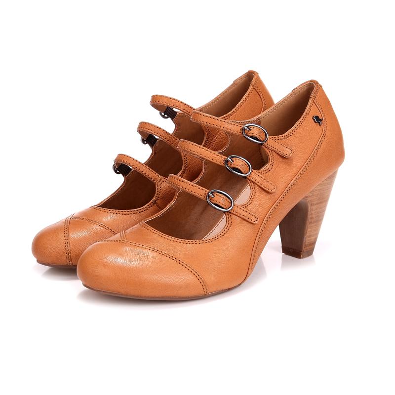 Verão da nova inglaterra no documentário sapatos rasos boca com sapatos de fivela áspero rodada couro sapatos casuais mulheres(China (Mainland))