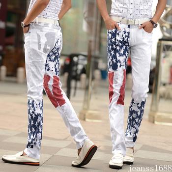 Белый мода истинные мужчин джинсы уникальный сша флаг большой размер печать эластичный хлопок большой размер 40 42 джинсы для мужчин модный дизайн