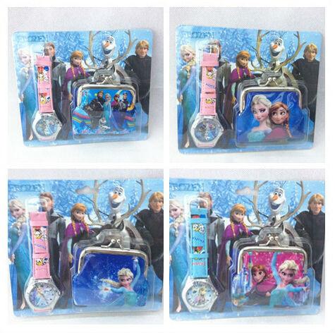 Good Quality Hot sale Elsa Anna Snow Queen Girl's Boy's Children Kids Xmas gift Lovely Wrist Watch purse set (watch+coin purse)(China (Mainland))