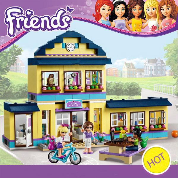 New Original 10166 BELA Girls Friends HeartLake City School Building Block Sets 489pcs Assemble Bricks toys Compatible with Lego(China (Mainland))