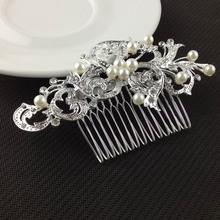 2015 New Pearl Wedding Bride Handmade Headwear Comb Hair High end Women s Butterfly Hairpin