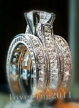 Victoria Wieck Engagement Princess cut  6mm Topaz Simulated Diamond 14KT White Gold Filled 3 Wedding Band Ring Set Sz 5-11 Gift(China (Mainland))
