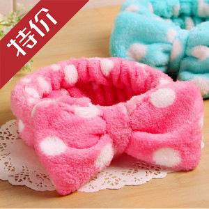 cute bows washing and dressing beauty headband coral fleece headband hair accessories free shipping(China (Mainland))