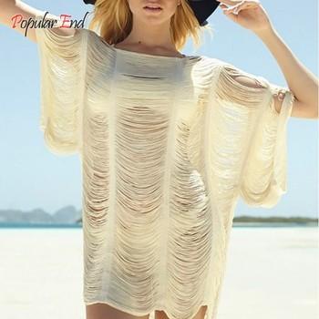 Горячая распродажа! модный дизайн женщины лето сексуальная слэш-образным вырезом кисточкой с коротким рукавом пляж платье бикини крышку ибп 36