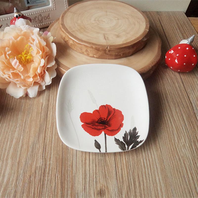Red flowers disc disc ceramic tableware series ala carte trade market square rectangular plate variety(China (Mainland))
