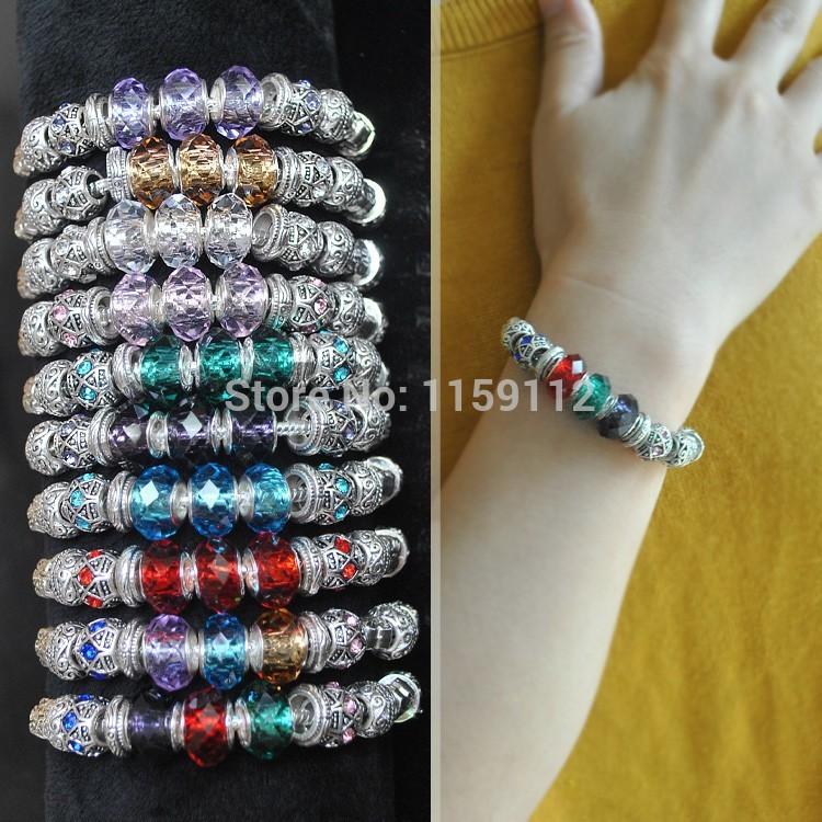 Hot Sale Troll Beads Bracelets- Jewelry DIY Beads Bracelets Silver Plated Glass&Crystal European Troll Beads Bracelets(China (Mainland))