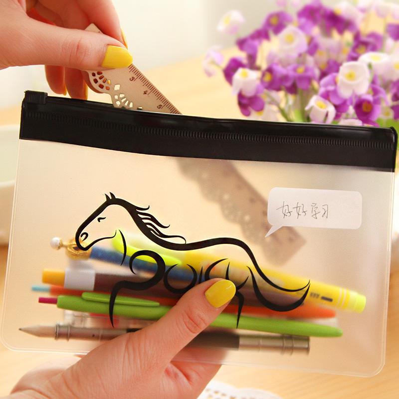 10pcs/lot Korea Stationery Cute Horse PVC A5 Student Pencil Bag Creative Storage Bag Pencil Pouch Case File Bag For School(China (Mainland))