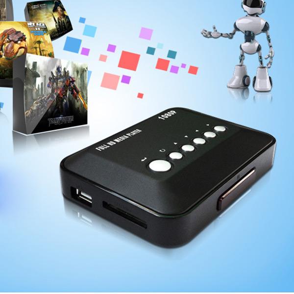 Black Full HD 1080P HDMI Multi Media Player Support AVI MP4 SD MMC Home Entertainment Remote Control(China (Mainland))
