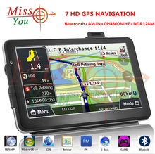 Free Shipping2015 NEW 7 Inch Bluetooth&AV-IN gps navigation HD Touch screen DDR4GB Free Map vehicle gps Windoes CE6.0 navigator(China (Mainland))